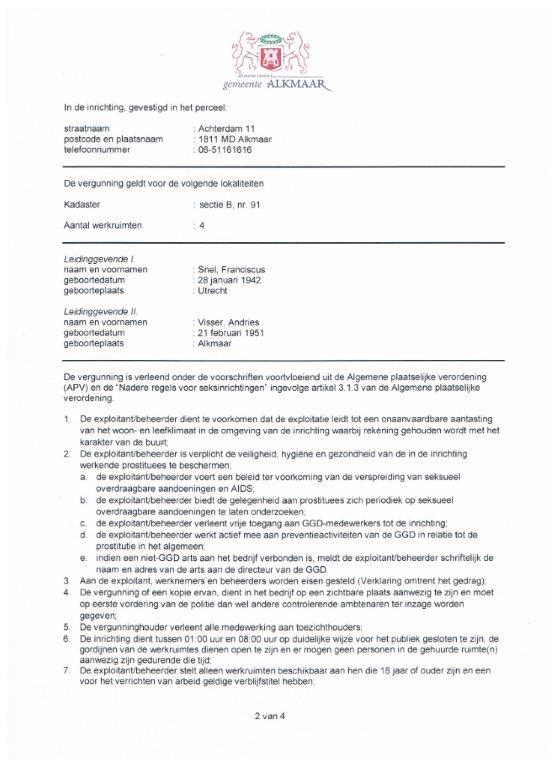 Vergunningsvoorwaarde 2014 kamerverhuur Alkmaar