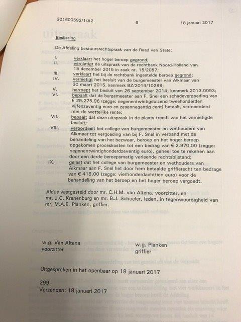 Uitspraak Raad van State F. Snel